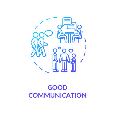 Good communication concept icon. Best friends and family members relationship idea thin line illustration. People emotional support. Vector isolated outline RGB color drawing Vektoros illusztráció