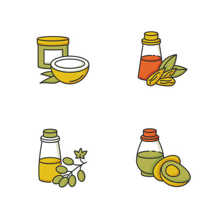 Hair oils RGB color icons set. Coconut natural mask in jar. Almond extract in liquid. Grape seed essence for haircare treatment. Organic avocado cosmetic oil. Isolated vector illustrations