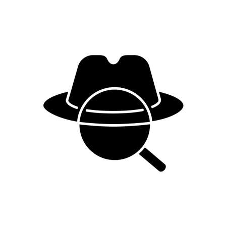 Detective black glyph icon. Traditional movie genre, classic noir film. Murder mystery, crime investigation silhouette symbol on white space. Felt hat and magnifying glass Vector isolated illustration