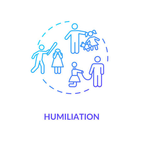 Humiliation concept icon. Children and partner physical and emotional abuse idea thin line illustration. Domestic violence. Vector isolated outline RGB color drawing Illustration