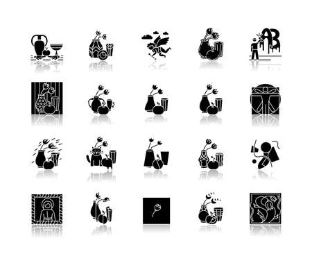 Art movements drop shadow black glyph icons set. Still life artwork in medieval, modern styles. Impressionism, expressionism and realism painting. Isolated vector illustrations on white space
