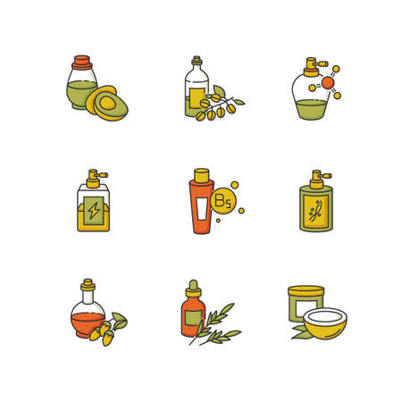 Hair oils RGB color icons set. Coconut cosmetic mask in jar package. B5 panthenol in tube. Antistatic and liquid silicon. Keratin chemical formula for smooth hair. Isolated vector illustrations 일러스트