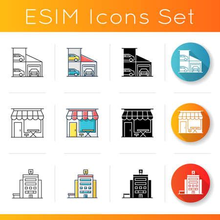 Urban building exteriors icons set