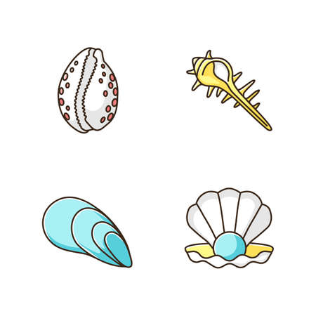 Different sea shells RGB color icons set