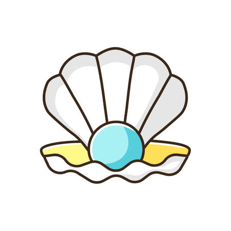 Open clam with pearl RGB color icon. Exotic seashell with precious gem. Ocean souvenir, conchology Scallop shell, oyster, mussel isolated vector illustration