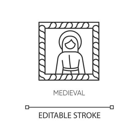 Medieval art style pixel perfect linear icon. European cultural movement. Christian iconography. Thin line customizable illustration. Contour symbol. Vector isolated outline drawing. Editable stroke
