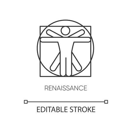 Renaissance art style pixel perfect linear icon. European cultural movement and history period. Thin line customizable illustration. Contour symbol. Vector isolated outline drawing. Editable stroke