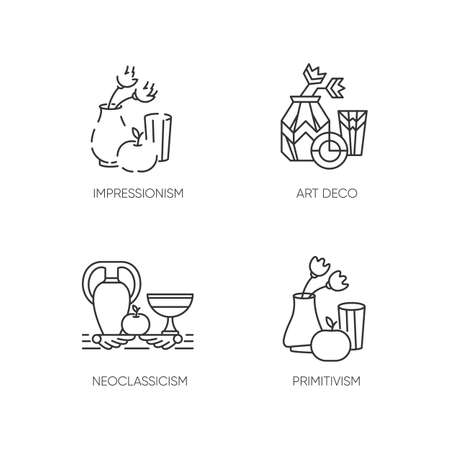 Art movements pixel perfect linear icons set. Modern and classical paintings exhibition. Customizable thin line contour symbols. Isolated vector outline illustrations. Editable stroke