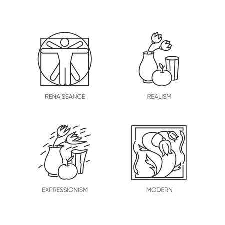 Cultural movements pixel perfect linear icons set. Renaissance and modern European art styles. Customizable thin line contour symbols. Isolated vector outline illustrations. Editable stroke 일러스트