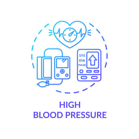 High blood pressure concept icon. Cardiovascular disease, hypertension monitoring idea thin line illustration. Health care instruments. Vector isolated outline RGB color drawing