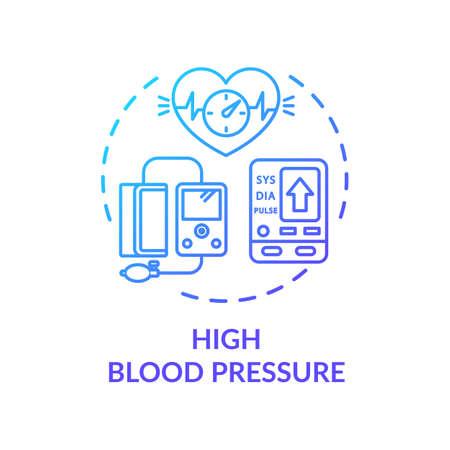 Symbol für das Konzept des hohen Blutdrucks. Herz-Kreislauf-Erkrankungen, Hypertonie-Überwachungsidee dünne Linie Illustration. Instrumente für das Gesundheitswesen. Vektor isolierte Umriss RGB-Farbzeichnung