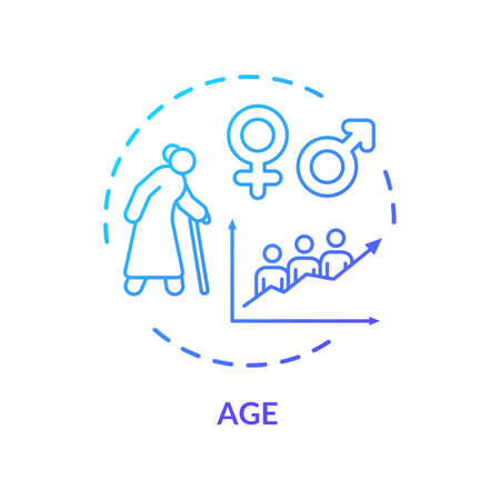 Age concept icon. Cardiovascular system diseases, CVD risk for senior adults, aging idea thin line illustration. Cardiac health problems. Vector isolated outline RGB color drawing 矢量图像