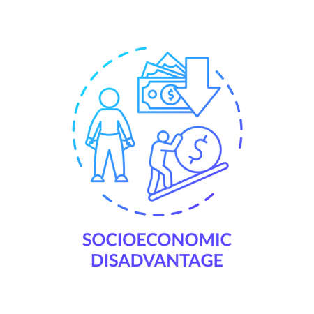 Socioeconomic disadvantage concept icon. Social classes inequality, low income idea thin line illustration. CVD factors, financial issues. Vector isolated outline RGB color drawing