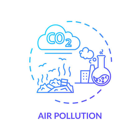 Air pollution concept icon. Environmental diseases factor, industrial contamination idea thin line illustration. Urban chemical polution. Vector isolated outline RGB color drawing Illustration
