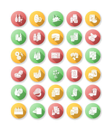 Groceries category flat design long shadow glyph icons set. Various supermarket food sections. Drink products for ecommerce and retail. Miscellaneous goods for shop. Silhouette RGB color illustration
