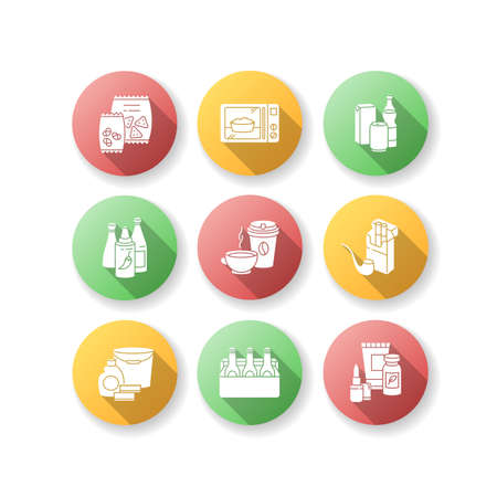 Grocery categories flat design long shadow glyph icons set. Snacks in packets. Ready meal. Beverage types. Chili sauces, ketchup in bottle. Beauty and health. Silhouette RGB color illustration