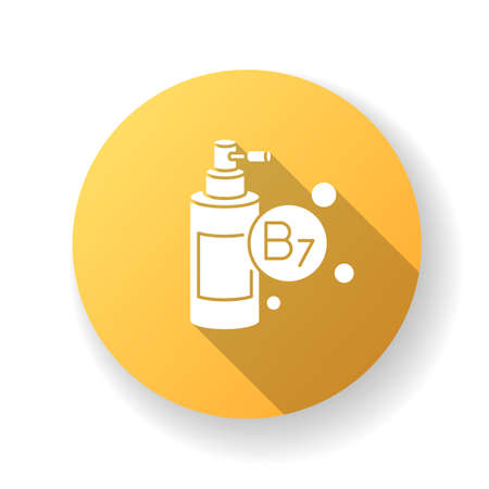 B7 biotin in liquid form yellow flat design long shadow glyph icon. Mist and spray in bottle package for haircare. Chemical cosmetic product for hair treatment. Silhouette RGB color illustration.