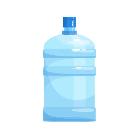 Water gallon for cooler semi flat RGB color vector illustration. Huge reusable bottle of mineral aqua. Purified liquid in portable container isolated cartoon object on white background
