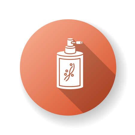 Liquid silicon in bottle red flat design long shadow glyph icon. Conditioner in jar container with sprayer. Chemical cosmetic product for hair treatment. Silhouette RGB color illustration 일러스트