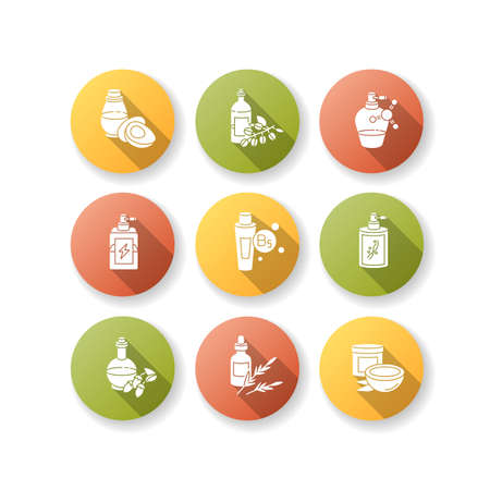 Hair oils flat design long shadow glyph icons set. Hydrolyzed wheat protein. B7 biotin treatment. Herbal product for haircare. Shampoo, conditioner. Silhouette RGB color illustration.