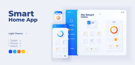 Smart home app screen vector adaptive design template. IOT application day mode interface with flat characters. Household equipment remote management smartphone, tablet, smart watch cartoon UI