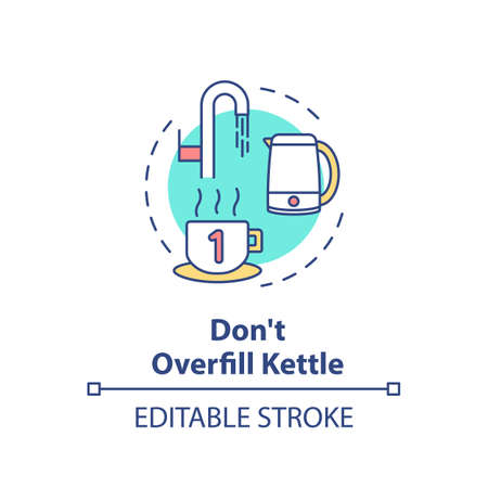 Not overfill kettle concept icon