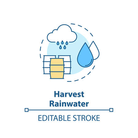 Harvest rainwater concept icon. Collect pouring water in tank. Environmental preservation. Resource saving idea thin line illustration. Vector isolated outline RGB color drawing. Editable stroke Illustration