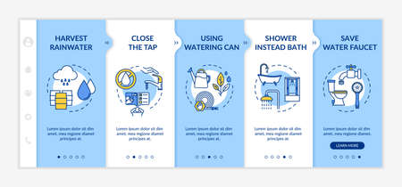 Water saving tips onboarding vector template. Resources sustainable consumption, cost effective lifestyle. Responsive mobile website with icons. Webpage walkthrough step screens. RGB color concept