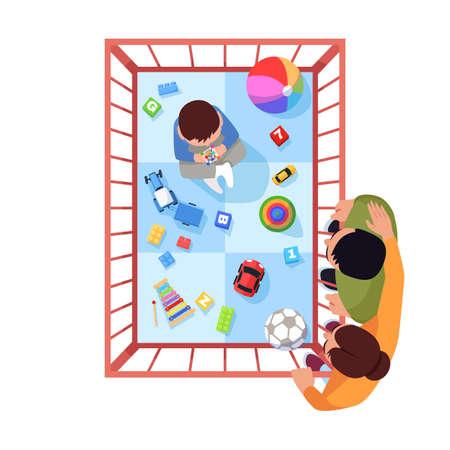 Parent watch kid play semi flat RGB color vector illustration
