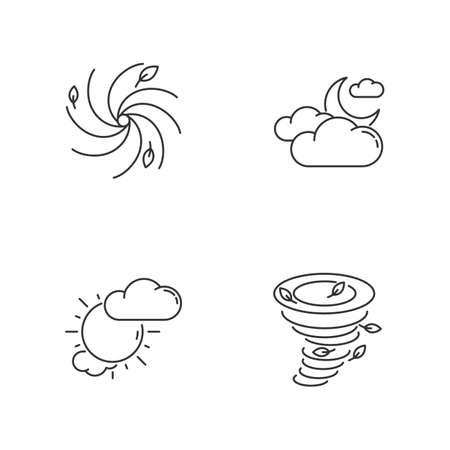 Meteorological warning pixel perfect linear icons set 向量圖像