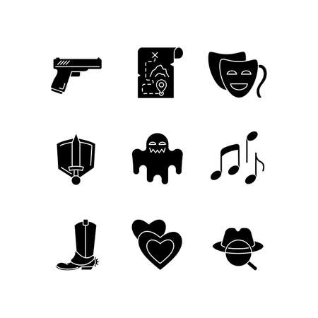 Different movie styles and genres black glyph icons set on white space. Popular film and TV show types. Media entertainment, filmmaking industry silhouette symbols. Vector isolated illustration Illustration
