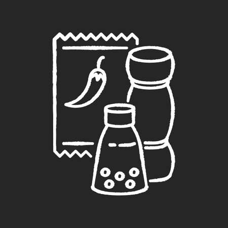 Condiments chalk white icon on black background. Pepper in glass jar. Salt for cooking. Food recipe ingredient. Seasoning options. Dressings for cooking. Isolated vector chalkboard illustration Ilustração