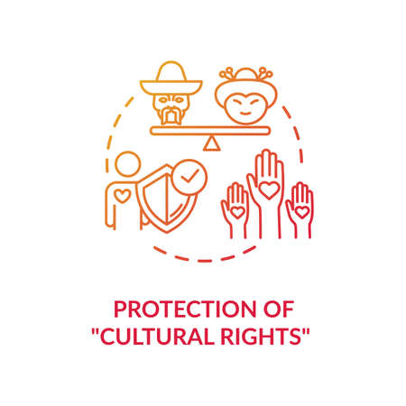 Protection of cultural rights red gradient concept icon. Multi ethnic empowerment. Social unity. Racial equality idea thin line illustration. Vector isolated outline RGB color drawing