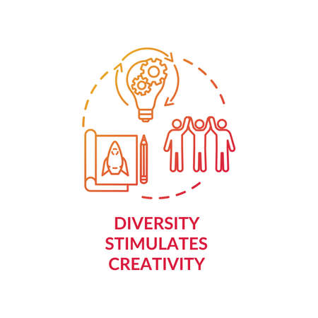 Diversity stimulates creativity red concept icon. Productive work in multi national group. Multi cultural team idea thin line illustration. Vector isolated outline RGB color drawing