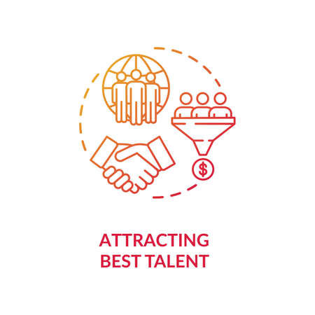 Attracting best talent red concept icon. International recruitment. Multi national work group. Multi cultural team idea thin line illustration. Vector isolated outline RGB color drawing