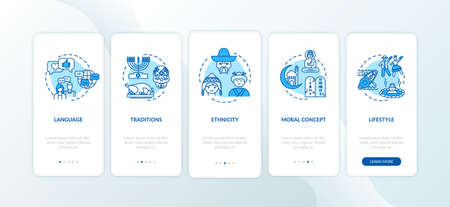 Multi cultural traditions onboarding mobile app page screen with concepts. Global cultural heritage walkthrough 5 steps graphic instructions. UI vector template with RGB color illustrations
