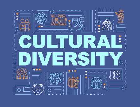 Multiculturalism word concepts banner. Cultural diversity. International community. Infographics with linear icons on blue background. Isolated typography. Vector outline RGB color illustration Vectores