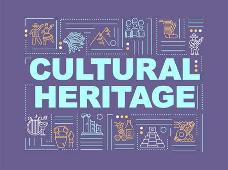 Culture and history word concepts banner. Antique artifact. Folklore and customs. Infographics with linear icons on violet background. Isolated typography. Vector outline RGB color illustration