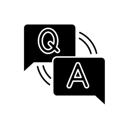 FAQ black glyph icon. Frequently asked questions. Answers for clients. Letters in speech bubble. Forum discussion. Social media helpdesk. Silhouette symbol on white space. Vector isolated illustration