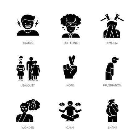 Feeling black glyph icons set on white space. Social and moral emotion. Psychological disorder treatment. Positive attitude. Mental health issue. Silhouette symbols. Vector isolated illustration Illustration