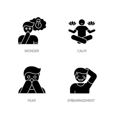 Mental state black glyph icons set on white space. Sense of wonder. Creative thinking. Man feeling calm. Fear from phobia. Person feeling shy. Silhouette symbols. Vector isolated illustration Illustration