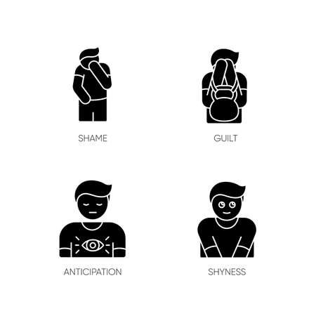 Human behaviour black glyph icons set on white space. Feeling of shame. Man with self blame. Social emotion of guilt. Symptom of psychological abuse. Silhouette symbols. Vector isolated illustration