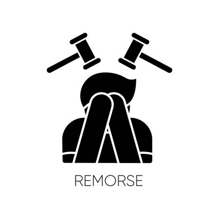 Remorse black glyph icon. Man with regret. Person cover face in shame. Crisis and loneliness. Mental health. Suffering from blame. Silhouette symbol on white space. Vector isolated illustration