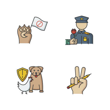 Social activism RGB color icons set. Animal right demonstration. Civil War veteran appreciation. Wildlife protection. Freedom of press. Journalism and media. Social aid. Isolated vector illustrations
