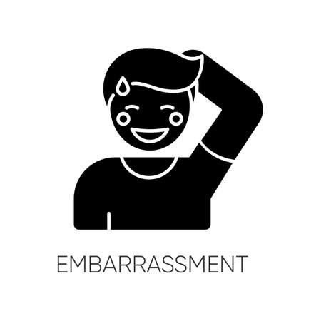 Embarrassment black glyph icon. Man acting shy. Feeling of humiliation. Self conscious behaviour. Nervous from modesty. Moral emotion. Silhouette symbol on white space. Vector isolated illustration Stock Illustratie