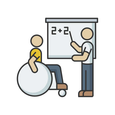 Inclusive education RGB color icon. Assistastance for person with disability. Handicapped student support program. Special class teacher. School accessibility for invalid. Isolated vector illustration Stock Illustratie