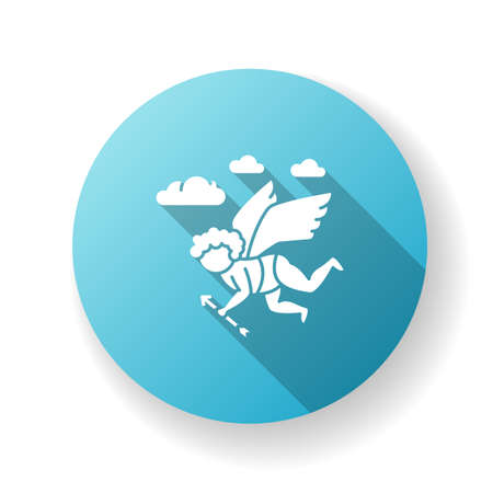 Classicism blue flat design long shadow glyph icon. Western traditional cultural movement. Baby cupid flying with arrow. Classical visual art. Silhouette RGB color illustration