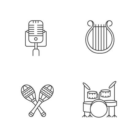 Band musical instruments pixel perfect linear icons set