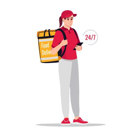 24h order delivery semi flat RGB color vector illustration