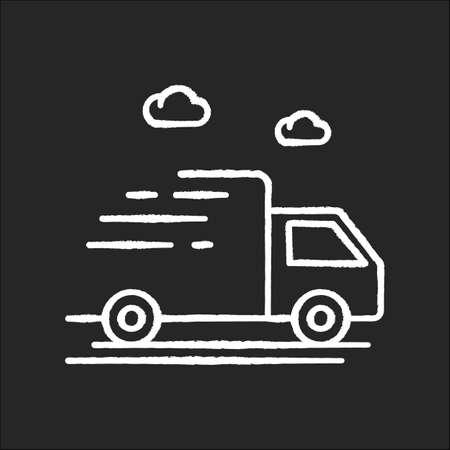 Delivery truck chalk white icon on black background Stock Illustratie